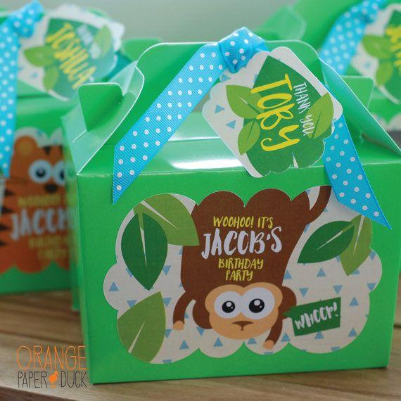 Personalizado para niños SAFARI selva cumpleaños fiesta Bolsa almuerzo actividad estacionaria elefante * mono * León * animales salvajes tigre