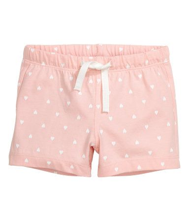 Light pink/Heart. CONSCIOUS. Shorts in soft organic cotton jersey with elastication and ties at the waist.