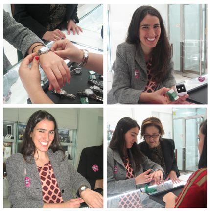 Nuria, la segunda ganadora, se llevó a casa un reloj y unos pendientes de perlas, todo de la marca Roselin