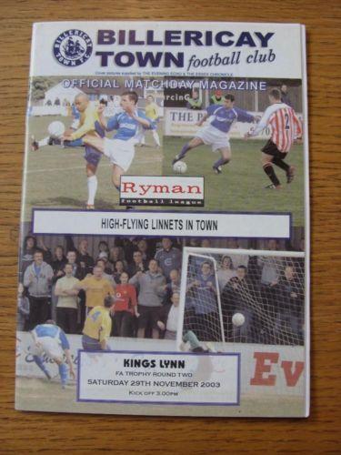 29/11/2003 Billericay Town v Kings Lynn [FA Trophy]   #klfc