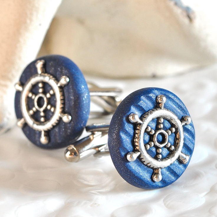 Ship's Helm Cufflinks Nautical Themed Weddings for Your Sailor or Groomsmen in Textured Navy Blue Polymer Clay. $22.00, via Etsy.