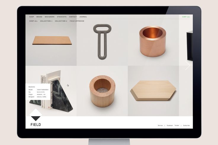 We paired imagery of landscapes with a clean and functional layout, highlighting Field's emphasis on simplicity and natural materials. Field is a design brand and online store for men looking to procure items of quality and craftsmanship. Inspired by the surface plane of objects, we created a black-and-white logo using a single geometric shape with a horizon line. For Field's website, we paired imagery of landscapes with a clean and functional layout, highlighting the brand's emphasis ...