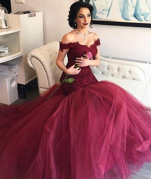 Burgundy tulle sweetheart neck lace long prom dress, evening dress, burgundy wedding dress