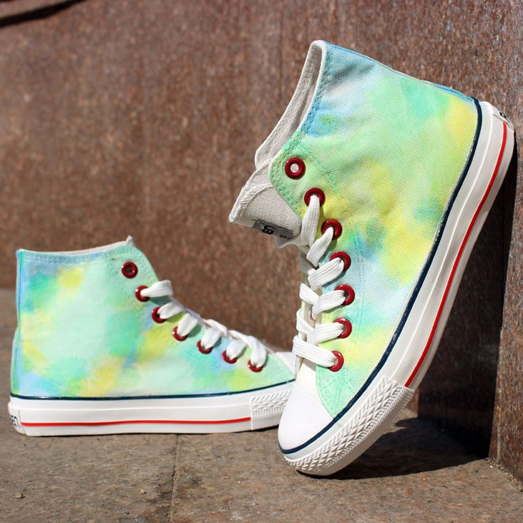 Green Color Tie Dye Hand Painted High Top