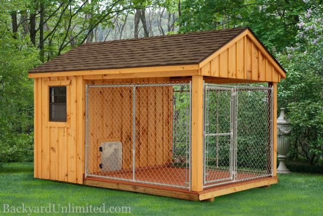 8'x12' Dog Kennel with 4'x8' Box and 8'x8' Run http://www.backyardunlimited.com/dog-kennels.php