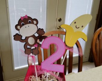 Monkey centerpiece, Monkey birthday, Monkey shower, monkey centerpiece sticks.