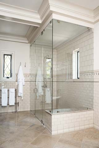 white bath | glass shower, trimwork & subway tile
