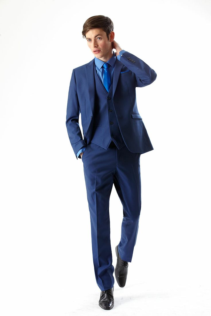 three piece blue slim fit suit from slaters three piece