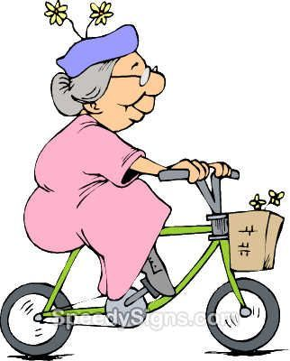 Image result for grandma on push bike cartoon images