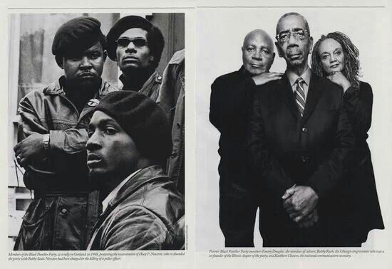 (Left): Black Panther Party members in Oakland, 1968, photograph by Stephen Shames. (Right): Former Black Panther members Emory Douglas, Bobby Rush, and Kathleen Cleaver.  Bobby Lee Rush (born November 23, 1946) is the U.S. Representative for Illinois's 1st congressional district, serving since 1993. He is a member of the Democratic Party.   Previous pinner found text above on Wikipedia
