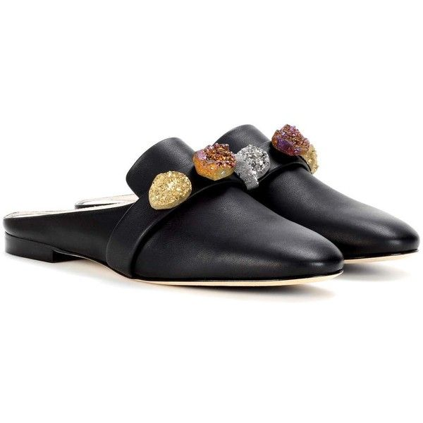 Christopher Kane Embellished Leather Mules ($330) ❤ liked on Polyvore featuring shoes, flats, black, black leather flats, leather shoes, embellished flats, mule flats and leather mules