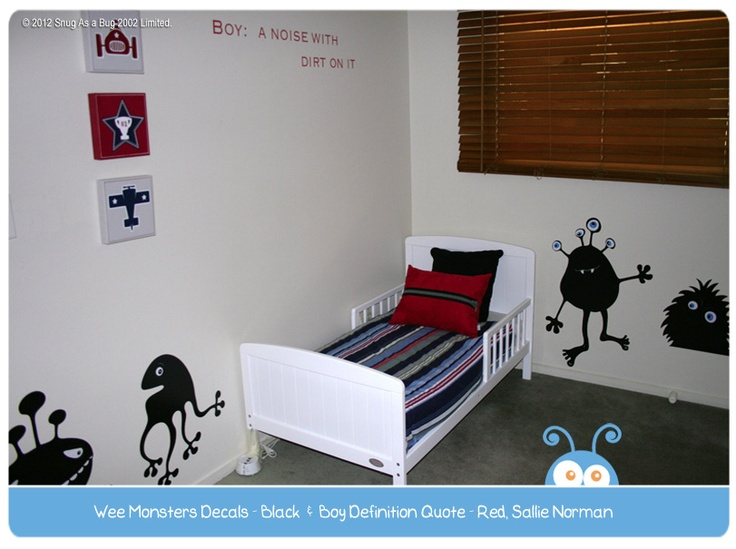 Monsters Decal and Boy Definition Quote by Sallie Norman.  Vote for Sallie if you think this is the best kids room!