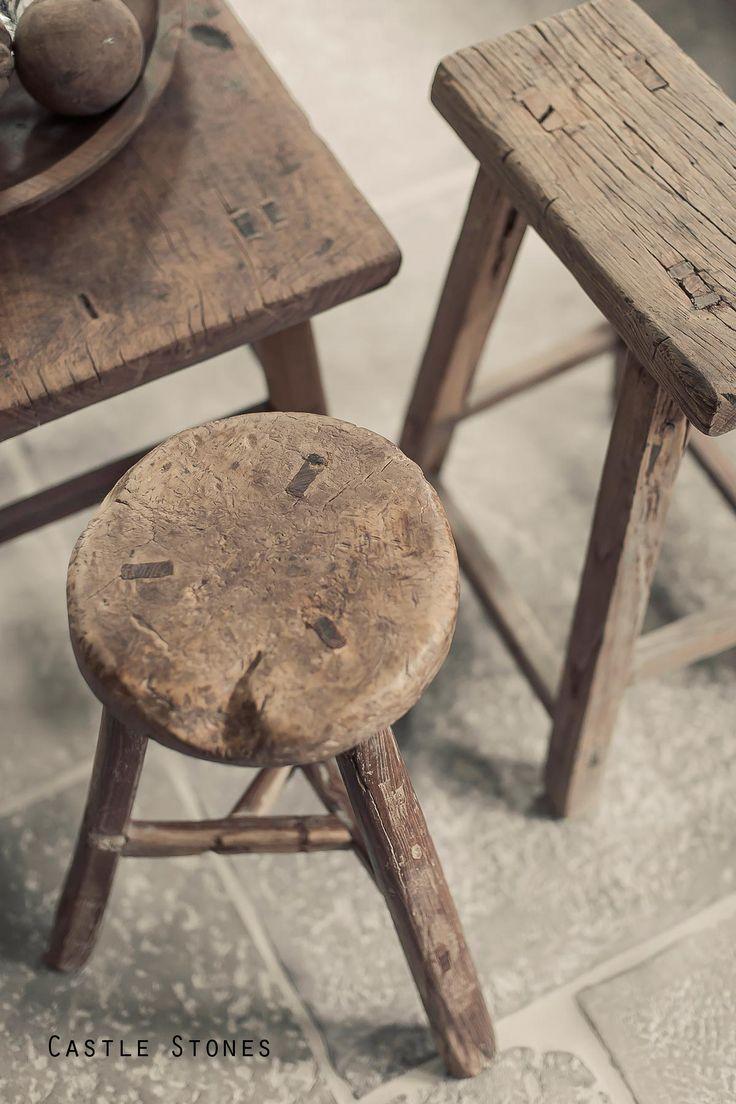 oud houten krukjes hoffz