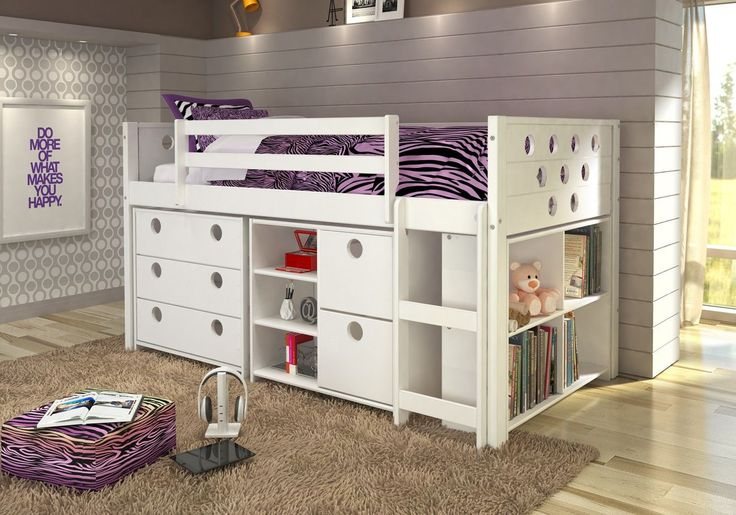 Junior Loft Bed, Bookshelves, Dresser & Storage Drawers in One