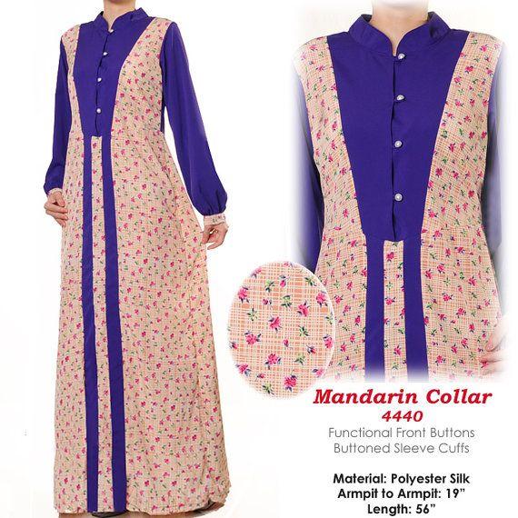 Floral Mandarin Collar Muslim Islamic Abaya Long by MissMode21, $26.00