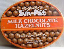 old SUN-PAT milk chocolate hazelnuts tin