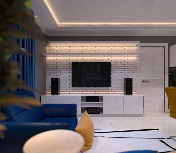 кирпичная стена в интерьере,кирпич,телевизор,тв,комод,полка,полки,подсветка