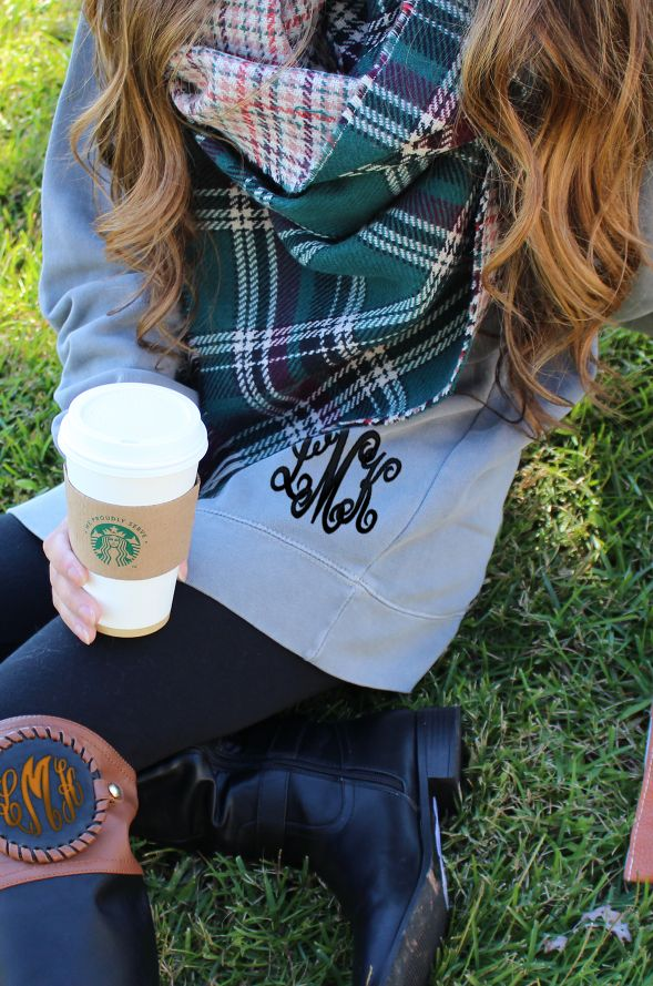Horrray! My leggings just found their long lost friends! In stock now at Marleylilly- Blanket Scarves, Monogrammed Comfort Colors Sweatshirts, and Monogrammed Boots - The perfect cozy fall outfit! #FallMustHaves