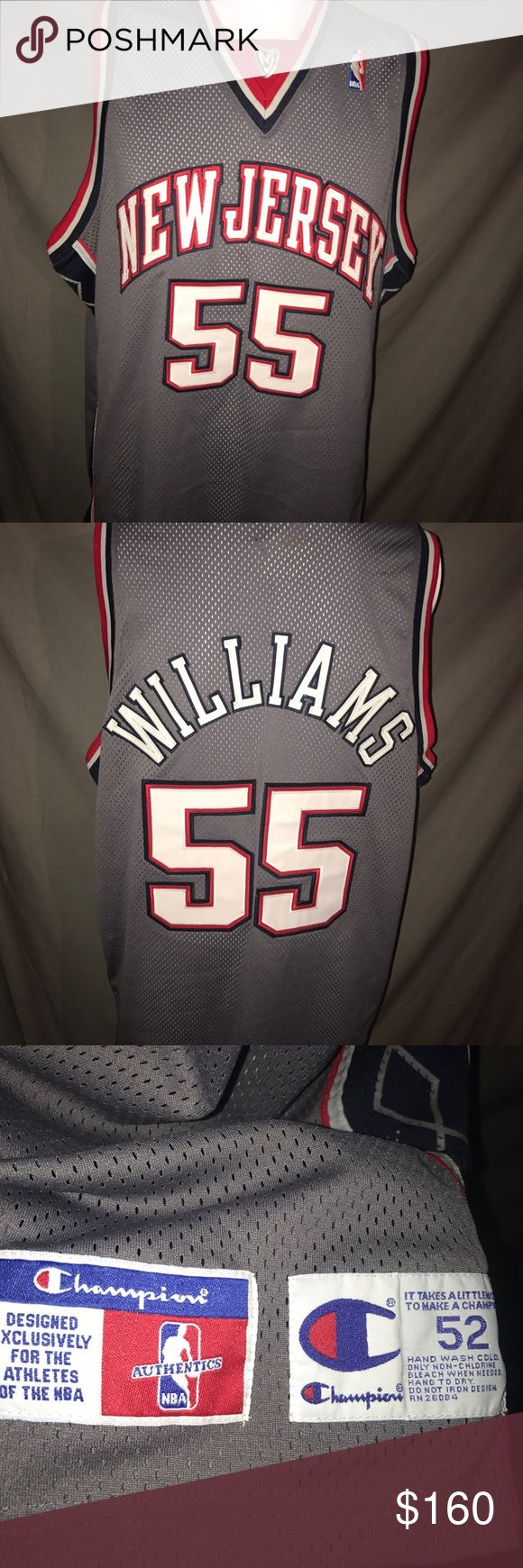 Nets Authentic Jayson Williams Jersey Men's New Jersey Nets Authentic Jayson Williams Champion Jersey. Size XXL. 100% Authentic. MINT condition. No flaws at all!!! Everything on jersey is stitched, great quality. Fits true to size. Champion Shirts