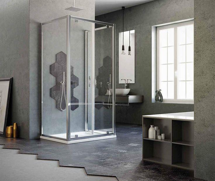 Box #doccia a penisola 2 ante con apertura pivot, in vetro #temperato con struttura in #alluminio anodizzato.