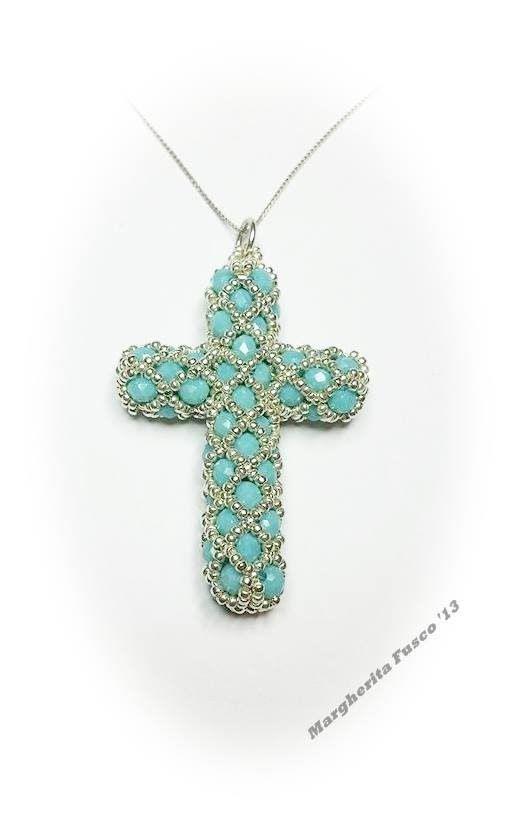 Tutorial perline: come fare una croce con perline e cristalli (bicono sw...