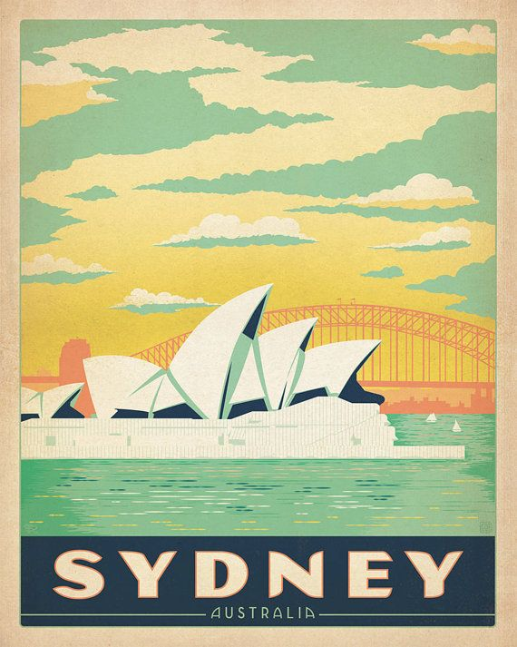 Sydney Australia Travel Vintage Reproduction by FoxyNFoxyVintage