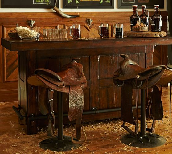Rustic Ultimate Bar - Small | Pottery Barn - OMG if those saddle barstools are available anywhere I need them!!!