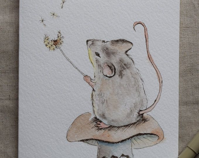 Little Mouse Watercolor Painted Card Make A Wish Prints Paint