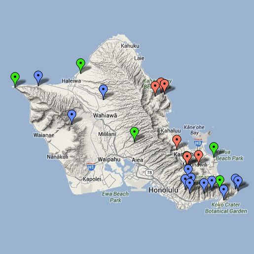 Map of the best hikes on Oahu, Hawaii