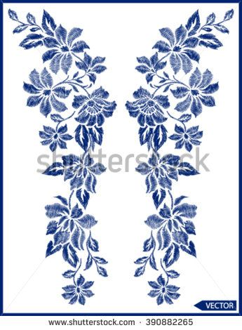 flowers neck line embroidery graphic designs - stock vector