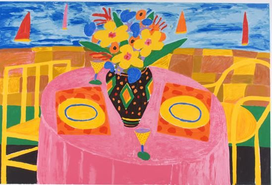 Ken Done AM   Australia  b.29 Jun 1940   Table by the Sea 1991 screen print on paper ed.5/200 57 x 85cm Grafton Regional Gallery  Collection | Donated through the Australian Governments Cultural Gift's Program by Ken Done