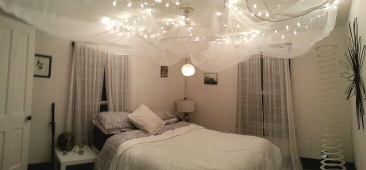 This is the ceiling of my bedroom. Its white Christmas string lights nailed to the ceiling in a ...