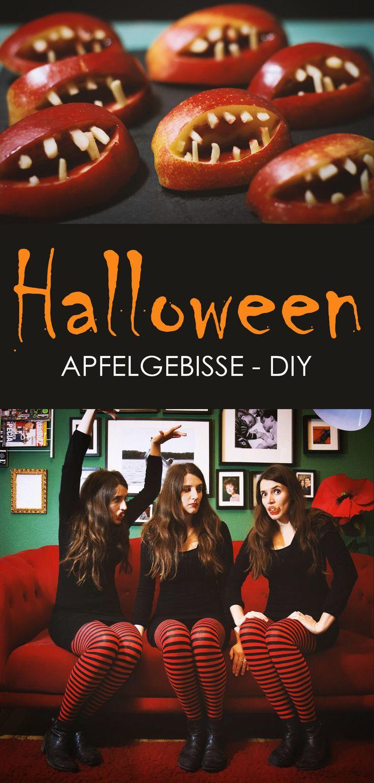 Apfelgebisse für Halloween mit Mandeln und Erdebeermarmelade #DIY  via Art & Almonds