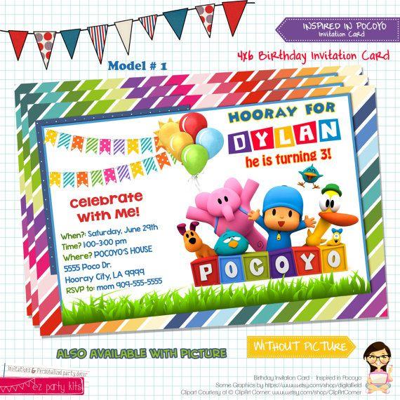 POCOYO Invitation Card POCOYO Birthday Invitation by EZPARTYKITS, $8.00