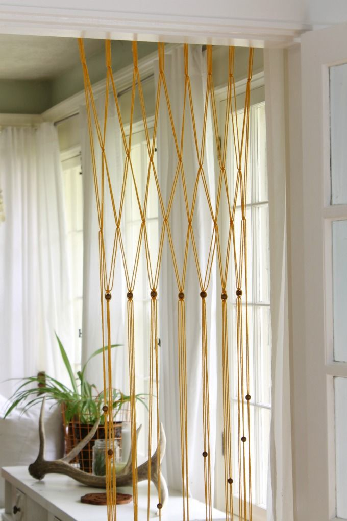 Easy Macrame Bead Curtain Using Yarn - The Wicker House