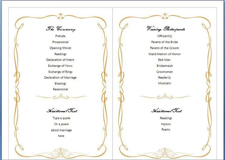 Free Ms Word Family Wedding Program Template Formal Word Templates  WordTemplatesBundle.com #SampleResume #  Program Templates Word