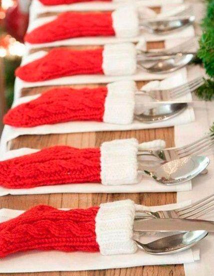 Una forma original de poner los cubiertos en la mesa para la cena de Nochebuena
