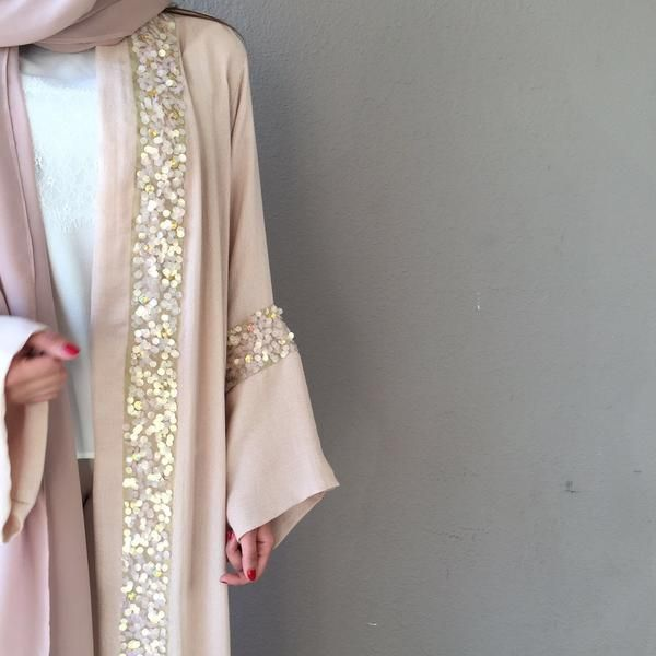 Limited Edition Dusty pink Linen Evening Abaya with Sequins detailing