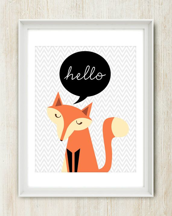 Miss Fox says Hello - 8x10 inch print featuring lovely fox and gray chevron background.