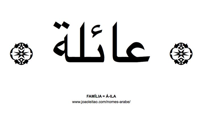Palavra FAMÍLIA escrita em árabe, A-ILA - عائلة