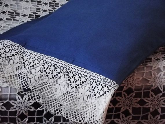Two Indigo Blue Pillow Cases. Soft Medium Linen by LinenFactory