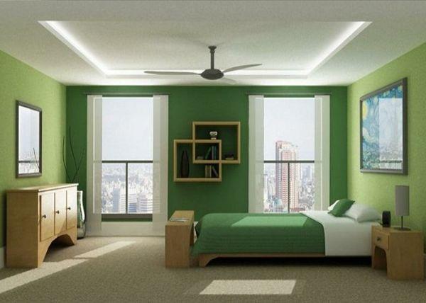 farbgestaltung schlafzimmer gr ne w nde sch nes bett bilder an der wand wohnen. Black Bedroom Furniture Sets. Home Design Ideas
