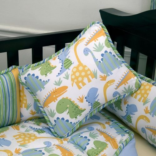 """This is the crib bedding we have for the baby's room! It's called """"Modern Dinosaur"""""""