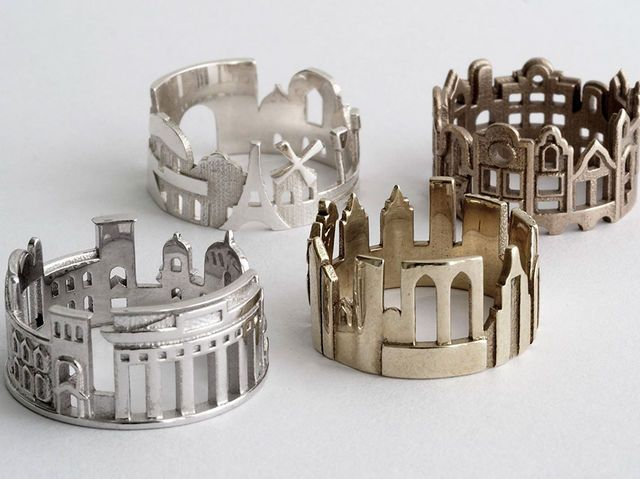 Ola Shekhtman is a Serbian goldsmith that specializes in beautiful custom jewelry. Her newest project is a series of rings that are based off of cities.