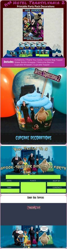 Looking for Hotel Transylvania 2 Party Ideas? Pin our Free Hotel Transylvania 2 Printable Party Decoration Pack #HotelT2