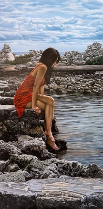 Fecteau, Sarah (b,1983)- Woman Sitting on Rocks, Feet in Water (Aqua)