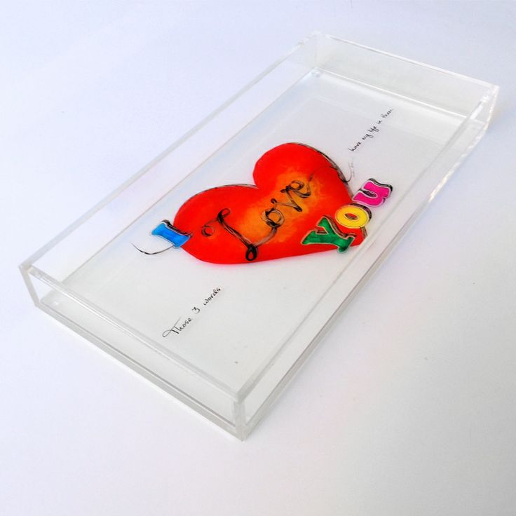 """""""I love you"""" Those three words have my life in them.  The most simple and yet  wonderful, sincere, giving and tender words you can say to someone.     original artwork & concept by Caroline Rovithi (www.carolinerovithi.com)    plexiglass decorartive tray with original design as result of personal inspiration and totally handmade.  size : 30 cm x 15 cm x 3,5 cm height  Comes in white porcelain, black or transparent plexiglass (choose below)"""