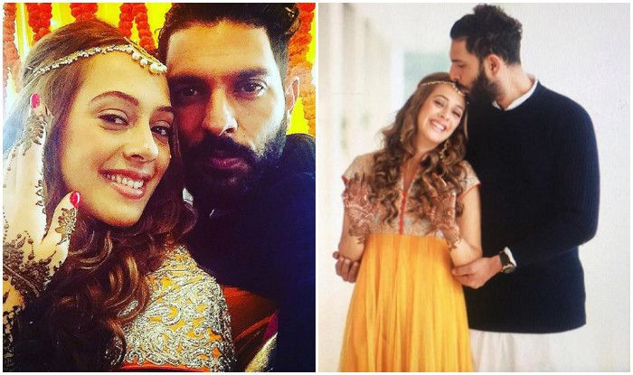 Chennai Ungal Kaiyil: Indian cricketer #YuvrajSingh and British-Mauritian model #Hazel Keech twinkling at their sangeet and mehandi ceremony at Chandigarh on Nov 29. #latestupdate www.chennaiungalkaiyil.com.  Chennai current events, Current updates of Chennai.