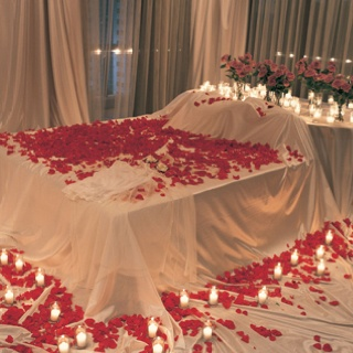 Bed w/ rose pedals