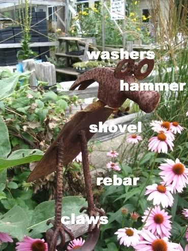 Tool Art / Tool Creatures  Create one-of-a-kind garden creatures using worn out or broken old metal tools. This post shows you a few different characters and the tools they are made from. Save old tools from landfills! There's always a reuse for good materials.